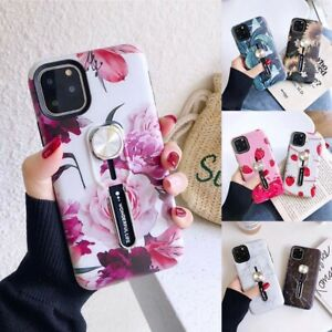 Marble Kickstand Case For iPhone 11 Pro SE 2020 XS Ring Loop Finger Strap Cover