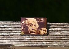 Albert Einstein Think Again Silver Tone Metal Lapel Pin Pinback Brooch