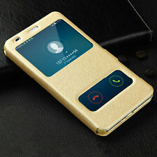 Luxury PU Leather View Window Stand Cover Case For Huawei Y6 II Compact&Y5 II