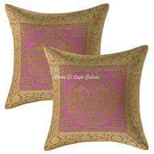Indian Decorative 16 x 16 Pillowcase Floral Brocade Elephant Throw Pillow Cover
