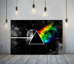 MUSIC GROUP PINK FLOYD -DEEP FRAMED CANVAS WALL ART PICTURE PAPER PRINT- BLACK