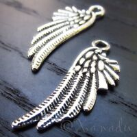Angel Wings 29mm Antiqued Silver Plated Charm Pendants C4730 - 10, 20 Or 50PCs