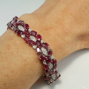 UNHEATED NO HEAT VIVID RED Natural Ruby Tennis Bracelet 14K White Gold Wide Link