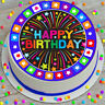 PRECUT EDIBLE ICING CAKE TOPPER 7.5 INCH HAPPY BIRTHDAY FIREWORKS BLUE JCHB021