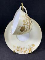 Bawo & Dotter Limoges Gold Gilt Floral Tea Cup & Saucer C. 1870-1880s