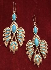 Vintage Women's Turquoise Silver Indian Warrior Tribal Feather Dangle Earrings