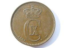 Dinamarca 1902 9/8 Bronce 1 Ore un UNC KM # 793.2