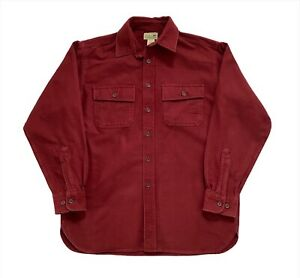 Vintage L.L. Bean USA Soft Chamois Cloth Flannel Pocket Shirt - Burgundy Medium
