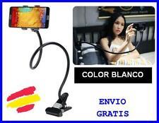SOPORTE Universal para MOVIL Smartphone Metal CON PINZA BLANCO mesa coche cama