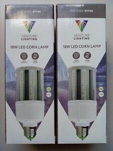 2 x LED Corn Bulb 18W E27 ES 4000K Venture Lighting Retrofit Lamp Edison Screw