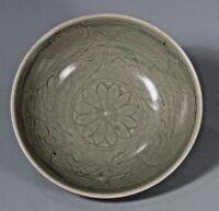 China Chinese Yaozhou Song celadon glaze porcelain bowl incised decor ca 13th c.