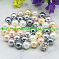 Natural 10mm Multicolor South Sea Shell Pearl Round Gemstone Beads Necklace 18''