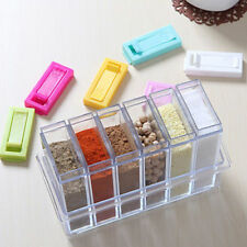 6ps/Set Seasoning Bottle Box Condiment Storage Container Rack Herb Spice Jar