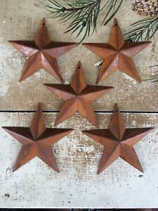 """Set/5 Rusty Barn Stars 5.5 in 5 1/2"""" Dimensional Craft Supply Country Farmhouse"""