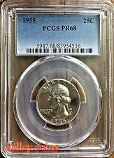 1955 25C PCGS PR68 GEM PRoof Washington Silver Quarter - BLAST WHITE!