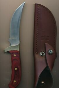 Buck Kalinga 2001 Wood Handle Knife with Sheath Made in USA
