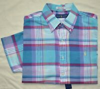 New XL POLO RALPH LAUREN Mens madras plaid shirt short sleeve cotton top blue