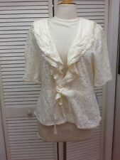 Apt 9, Stretch Lace Short Sleeve Jacket Wrap, Ivory, Sz. 1X, NWT