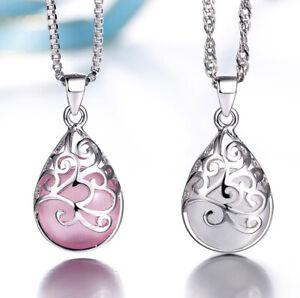 Damen Halskette Anhänger Mondstein Bäumen Blumen Stein Kette 925 Silber Geschenk
