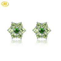 925 Sterling Silver Flower Stud Earrings Natural Green Peridot Chrome Diopside