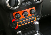 Car Inner Air Vents Button Trim+Emergency light Switch-Orange fit Jeep Wrangler