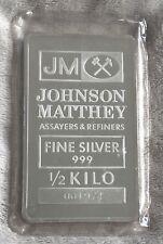 J&M JOHNSON MATTHEY 1/2 KILO SILVER BULLION BAR - SEALED VINTAGE ULTRA RARE SIZE