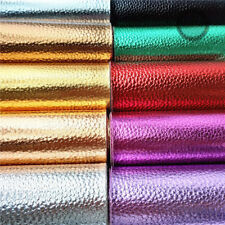Metallic Litchi Pattern Vinyl Foil Faux Leather Fabric Sheets Bag DIY Material