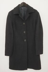 Women Hugo Boss Coat Black Wool Angora & Cashmere M IT42 F38 US8 GB10 VAZ429