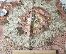 "Antique c1870 Victorian Silk Society Work & Handmade Lace Fabric~L-21""X W-23"""