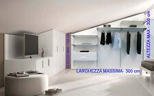Cabina Armadio per MANSARDA con barra appenderia e ripiani. 100% Italiano
