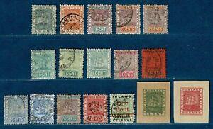 GUYANE BRITANNIQUE (Colonie):15 ex. entre les n°65 et 107 + 2 fragt. d'entiers.
