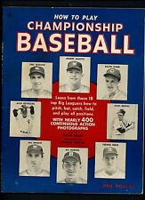 How To Play Championship Baseball 1954 Book Magazine Mickey Mantle Stan Musial