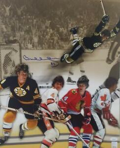 Bobby Orr Signed Bruins Flying Goal 16x20 Autographed Photo JSA & GNR COAs 563