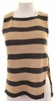 ARMANI JEANS Womens T-Shirt Top Size 12 Medium Beige Striped Cotton  EA16