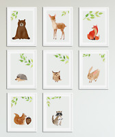 Woodland Watercolour Animal Prints for Nursery / Boys / Girls Bedroom Baby Room