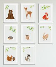 Woodland Watercolour Animal Prints for Nursery / Boys / Girls Bedroom Baby Room
