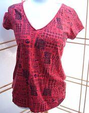 Womens Juniors Abbey Dawn PUNK ROCK Skull Graphic Tee Shirt Top Tunic RED SZ L