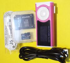 * Premium-pack * mini clip mp3 Player rosa, display 32gb SD-slot recargable * nuevo *