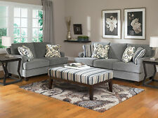FAMILLO Modern Design Living Room Couch Set - NEW Gray Mircofiber Sofa Loveseat