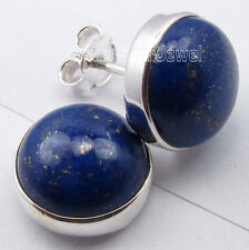 Schlichte, Edle Groß Blau LAPISLAZULI Ohrstecker Ohrringe Cabochon 925/- Silber