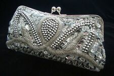 Silver Evening Handbag Beads Clutch Purse Party Bridal