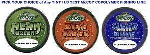 McCoy Fishing Line Copolymer Bulk Spools Mean Green Blue or Clear Any LB Test