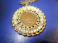 VINTAGE NECKLACE COIN JEWELRY INDIAN HEAD PENNY PENDANT RHINESTONES FANCY