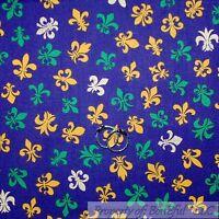 BonEful Fabric FQ Cotton Quilt Purple Yellow Green White Fleur De Lis Boy Scout
