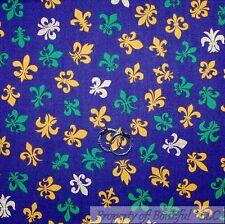 BonEful Fabric Cotton Quilt Purple Yellow Green White Fleur De Lis Baby 99 SCRAP