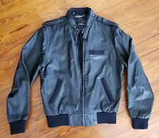 Members Only Jacket 100% Genuine Leather Black Size 42