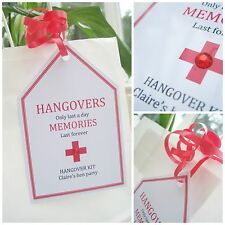 5 X HANGOVER TAGS HEN DO HEN PARTY PERSONALISED CRYSTAL GIFT TAGS & RIBBON
