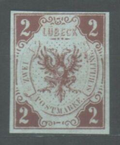 Lübeck, 1859 Stadtwappen, 2 Schilling, MiNr. 3 ohne Gummi