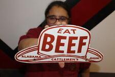 Eat Beef Cattlemen's Assn. Cattle Cow Farm Feed Gas Oil Porcelain Metal Sign