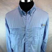 COLUMBIA PFG OMNI SHADE Light Blue Vented Roll Tab L/S Fishing Shirt Large EEE19